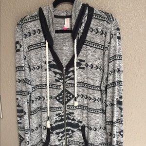 Black and gray hooded sweatshirt front zipper
